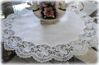 Large Classic Rose Lace Doily European Round 23 Table Topper antique White