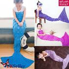 Super Soft Fluffy Hand Crocheted Mermaid Tail Blanket Sleeping Bag Gift Kids US