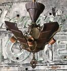 1920s Art Deco 5 Slip Shade Chandelier Light Fixture D2