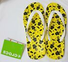 CROCS Chawaii Fruit Flip Flop Sandals LEMON Yellow White Strap Sliders Choice