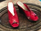 Jessica Simpson Womens Red Patent Leather Wedges FROSTEE Peep Toe 75M Strappy