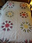 Handmade applique star flower quilt 102 by 84 made in America