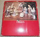 Dillards Set of 8 Gold Washed Porcelain Nativity Figurines Collectible NEW