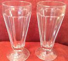 Vintage Clear Glass Soda Fountain Tall Footed Ice Cream Float Glasses Grooved 2