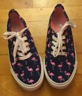 NWOT Girls 2 Flamingo Canvas Shoes Old Navy Lace up Sneakers Tennis Cute New