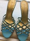 BCBGirls Aqua Gold Slip On Open Toe Heel Sandals Size 61 2