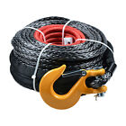 Black 20500LBs Synthetic Ramsey Winch Recovery Cable w/ Yellow Hook 3/8