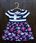 Gymboree Baby Girl Dress SS Navy White Stripe Floral SZ 18 24 Month NWT