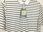 Nike Golf Mens DriFit Shirt Standard Relaxed Fit White Striped Polo small s