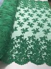 Beaded Fabric Embroidered Flower Mesh Beads  Sequins Green Emerald By Yard