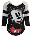 Disney Mickey Mouse Graphic Black Raglan Tee Shirt V Neck Women Juniors
