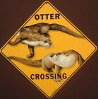 OTTER CROSSING SIGN aluminum picture otters decor animals novelty signs home