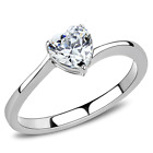 Stainless Steel Solitaire Heart cz Love Wedding Engagement Promise Silver Ring