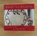 Fitz and Floyd Christmas Cheers Snowman  Snack Plate With Spreader 2006 NIB