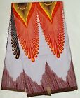 African Fabric Ankara White Orange Alpha Peacock YARD or WHOLESALE
