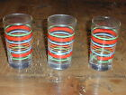 Fiesta Contemporay 3 Shamrock Juice Glasses 6 Ounce Striped Red Green Yellow