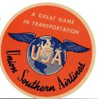 UNION SOUTHERN AIRLINES BAGGAGE LABEL STICKER 1940S MIAMI