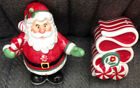Fitz & Floyd FF Christmas Salt & Pepper Shakers, Peppermint & Santa - NEW in Box