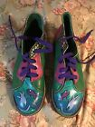 Leather anke bootsmulti colored hand painted fish