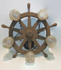 VINTAGE NAUTICAL BOAT SHIP WHEEL 5 LIGHT CHANDELIER LIGHT FIXTURE CEILING 23