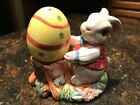 Fitz and Floyd Gathering Eggs Salt and Pepper Easter Bunny Rabbit