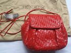 New Meyers Red Woven Leather Purse Vintage Crossbody Made in USA NOS Dust bag