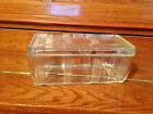 VTG HAZEL ATLAS ART DECO GLASS REFRIGERATOR DISH W/LID CRISS/CROSS STYLING