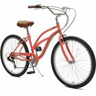 Critical Cycles Beaumont-7 Lady's Seven-Speed City Bike Coral Women's 26
