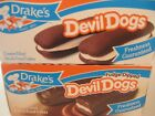 FUDGE DIPPED DEVIL DOGS & DEVIL DOGS BY DRAKES CAKES! 2 Boxes!