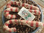 Primitive Grungy Red White Candy Cane Christmas Winter Rustic BowlFillers Ornies