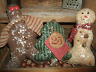 Primitive Trio Snowman Gingerbread Christmas Tree Ticking Bowl Filler ornies