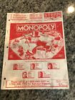 STERN MONOPOLY pinball manual – FREE FDX shipping