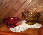 Stars Pressed Glass Footed Candy Dish Bowl 2