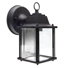 Square Coach Lantern Outdoor Porch Light Black w Clear Beveled Glass 458 02