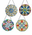 Window Hangers Tiffany Style Stained Glass Suncatcher Panels Circle Set Of 4