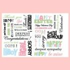 MAKING MEMORIES Rub On Transfers 34 pcs WORDAGE EXPRESSIONS 2 sheets Colored