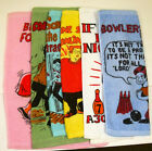 Set Of 6 Bowling Towels Colored Bowlers Comic Crying Excuse GREAT GIFT 11x15