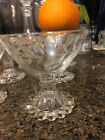 Six Anchor Hocking Glass Bubble BOOPIES Sherbet/Champagne Goblet w Laurel Leaf