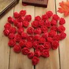 50pcs Mini Roses Artificial Silk Flower Heads Home Wedding Party Decor Decal USA