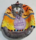 NEW 2002 HALLOWEEN FITZ & FLOYD KITTY WITCHES CERAMIC CANDY DISH HAND-PAINTED