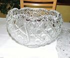 BUTTON CLEAR GLASS PUNCH BOWL w/ 12 MATCHING CUPS