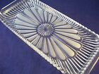 Vintage Clear Crystal Relish Tray Canape Bread Ribbed Frosted Floral Design