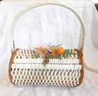 60s True Vintage White Vinyl Woven+Wood Basket Box PURSE Plastic Flower Fruit
