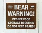 BEAR WARNING National Park Service US Forest Service Tin Metal Sign camping