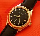 VINTAGE ULYSSE NARDIN BLACK DIAL 32.7MM GOLD PLATED CASE DATE AUTOMATIC SERVICED