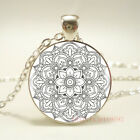 Indian Mandala Flower Tibet silver pendant chain Necklace For Women Jewelry gift