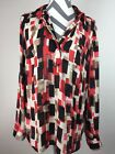 Ann Taylor womens red long sleeve pullover v neck polyester blouse Size Large