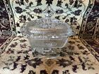 GORGEOUS GLASS PEDESTAL CANDY DISH WITH LID! NICE DETAILING!