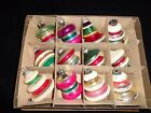 Lot 12 Vintage 3 Shiny Brite Indent Mica Lantern Christmas Glass Ornament