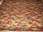 2 YDS X 66 ZIG ZAG  ORANGE RED GRAY TAN FLEECE FABRIC SEWING QUILTING